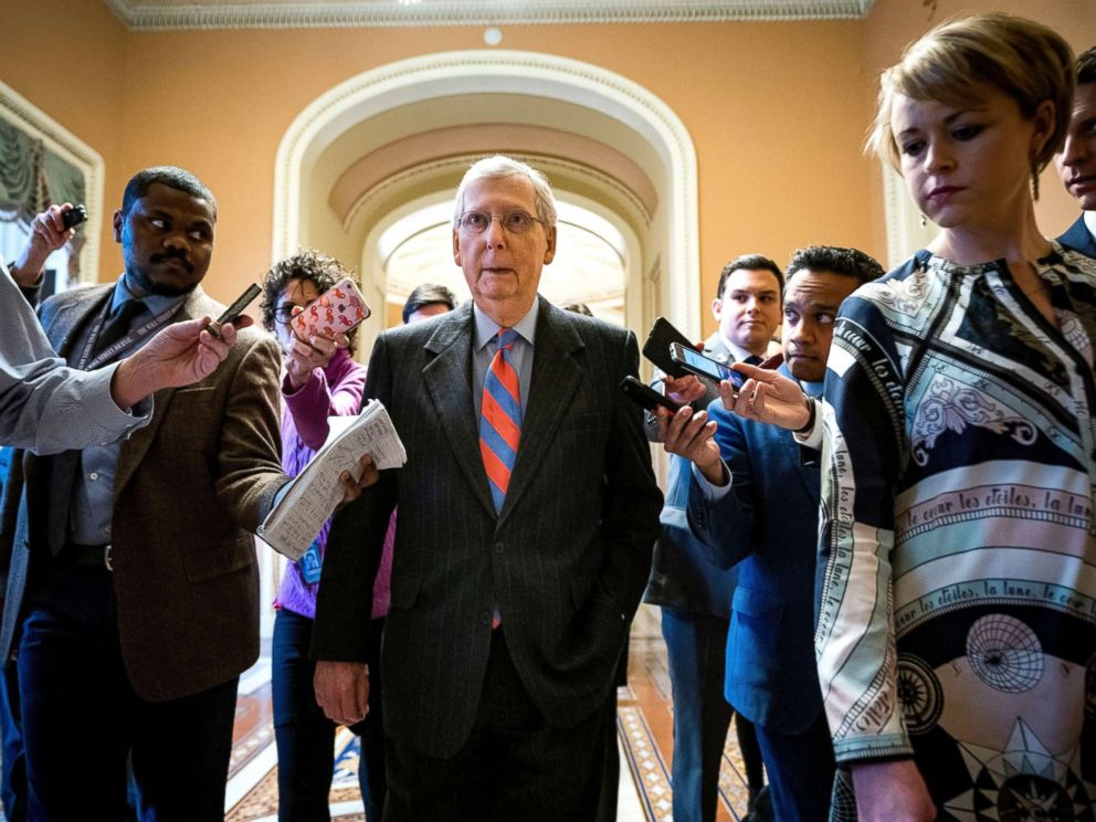 PHOTO: Republican Senate Majority Leader Mitch McConnell leaves the Senate floor after the vote on a budget bill that could avert a government shutdown at the US Capitol in Washington, Feb. 14, 2019.