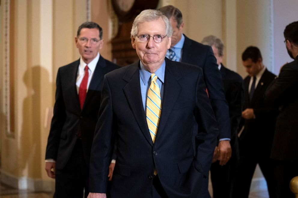 PHOTO: Senate Majority Leader Mitch McConnell and the GOP leadership team arrive to speak to reporters following their weekly policy conference, at the Capitol in Washington, June 11, 2019.