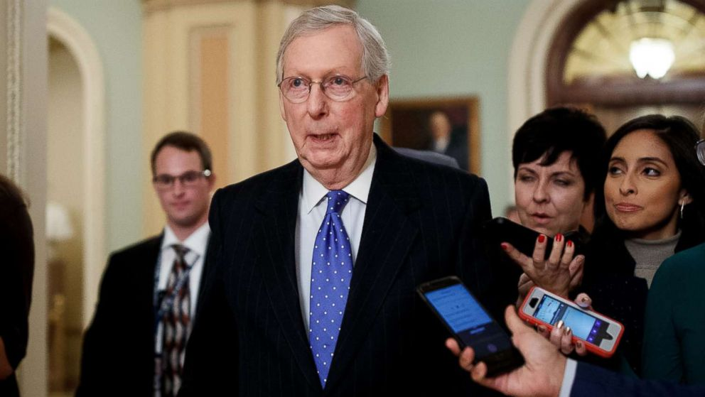 Senate Majority Leader Mitch McConnell talks to reporters on Capitol Hill in Washington, Dec. 19, 2018.