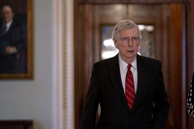 PHOTO: Senate Majority Leader Mitch McConnell walks toward his office after voting in the Senate Chamber at the U.S. Capitol in Washington, Aug. 1, 2019.