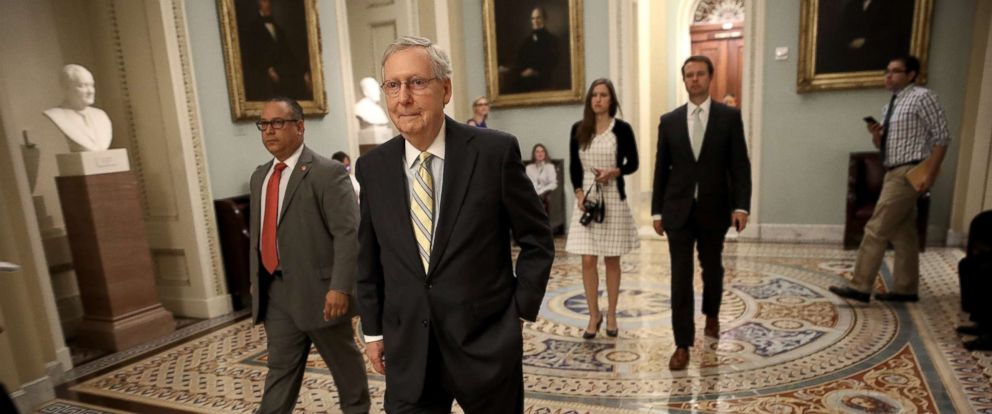 PHOTO: Senate Majority Leader Mitch McConnell (R-KY) walks to a meeting of Republican senators where a new version of their healthcare bill was scheduled to be released at the U.S. Capitol, July 13, 2017, in Washington.