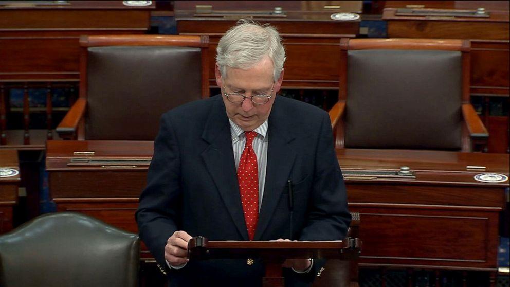 PHOTO: Senate Majority Leader Mitch McConnell speaks on the Senate floor, Dec. 15, 2020, in Washington, D.C.