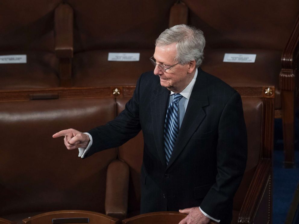 PHOTO: Senate Majority Leader Mitch McConnell, R-Ky., is seen in the House chamber during President Donald Trumps State of the Union address to a joint session of Congress, Jan. 30, 2018.