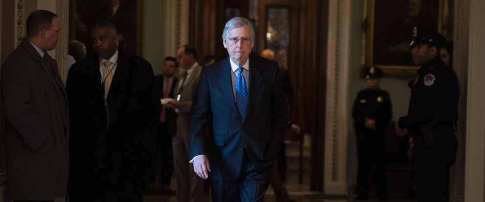 PHOTO: Senate Majority Leader Mitch McConnell walks through the Capitol after the Senate Policy luncheons, Jan. 15, 2019.