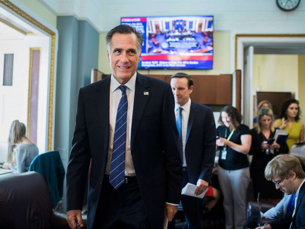 PHOTO: Sen. Mitt Romney arrives for a briefing in the U.S. Capitol, April 30, 2019, in Washington, D.C.