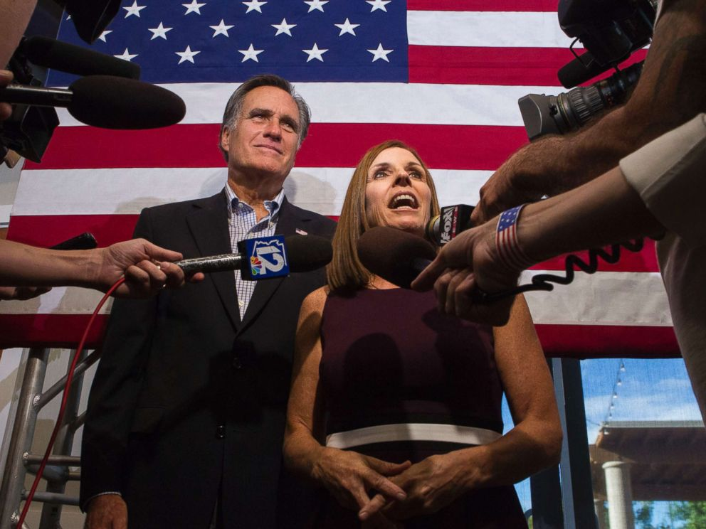 PHOTO: Rep. Martha McSally along with former Republican presidential nominee Mitt Romney, right, answers questions from the media during a Get Out the Vote Rally at the Gilbert Falls Event Center in Gilbert, Ariz., Oct. 12, 2018.