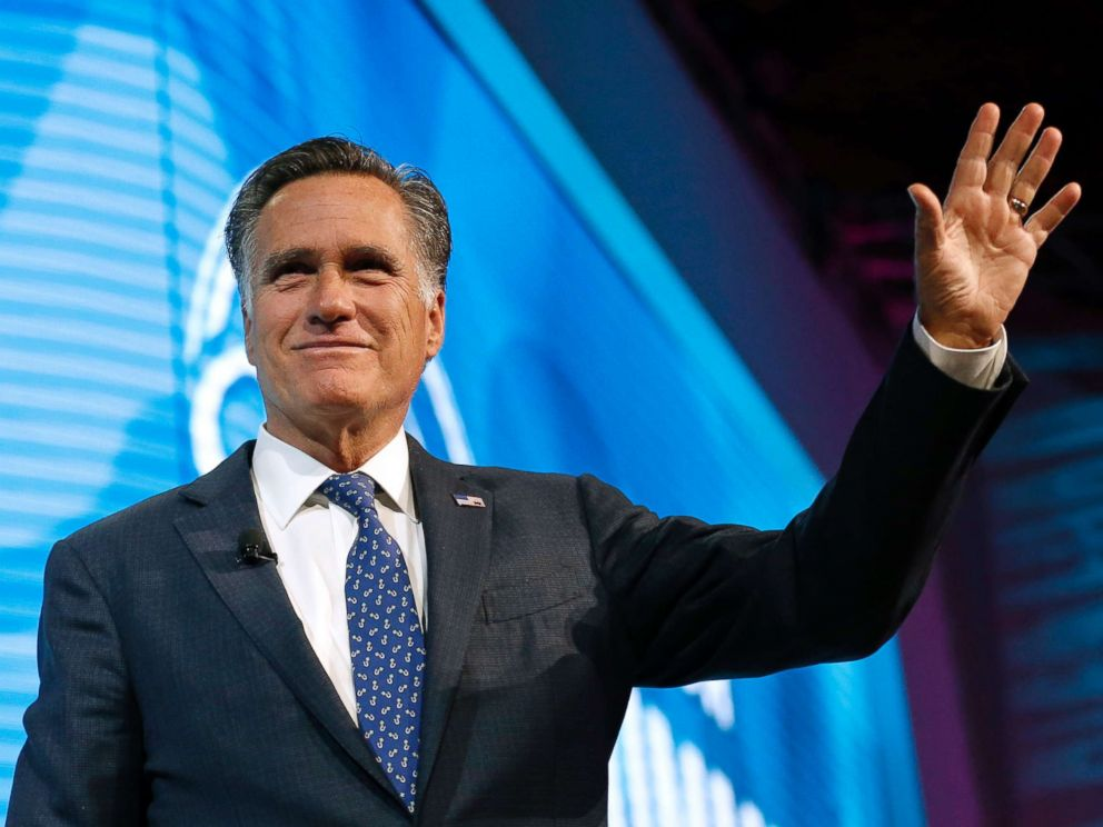 PHOTO: Former Republican presidential candidate Mitt Romney waves after speaking about the tech sector during an industry conference, in Salt Lake City, Jan. 19, 2018.