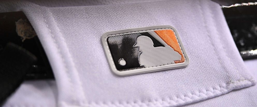 PHOTO: A detail view of the MLB logo on baseball pants, Sept. 18, 2018.