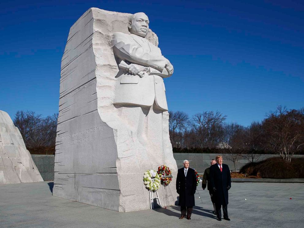 Image result for trump at mlk statue