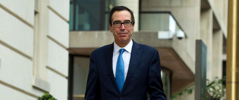 PHOTO: Treasury Secretary Steven Mnuchin arrives to the Office of the United States Trade Representative were he will have a minister-level trade meetings with his Chinese counterpart Chinese Vice Premier Liu He, in Washington, Oct. 10, 2019.