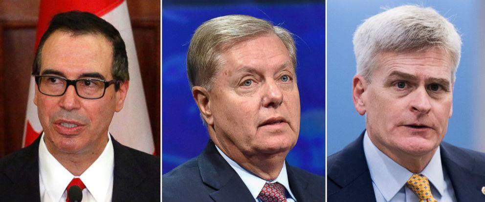 PHOTO: Pictured (L-R) are Treasury Secretary Steven Mnuchin in Ottawa, June 9, 2017, Sen. Lindsey Graham in New York, Sept. 19, 2017 and Sen. Bill Cassidy in Washington, D.C., Sept. 15, 2017.