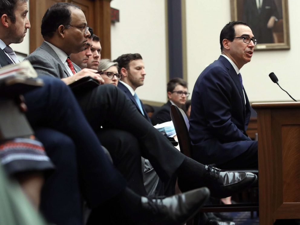 PHOTO: Treasury Secretary Steven Mnuchin testifies during a House Financial Services Committee on Capitol Hill, May 22, 2019, in Washington, D.C., on the State of the International Financial System and President Donald Trumps tax returns.