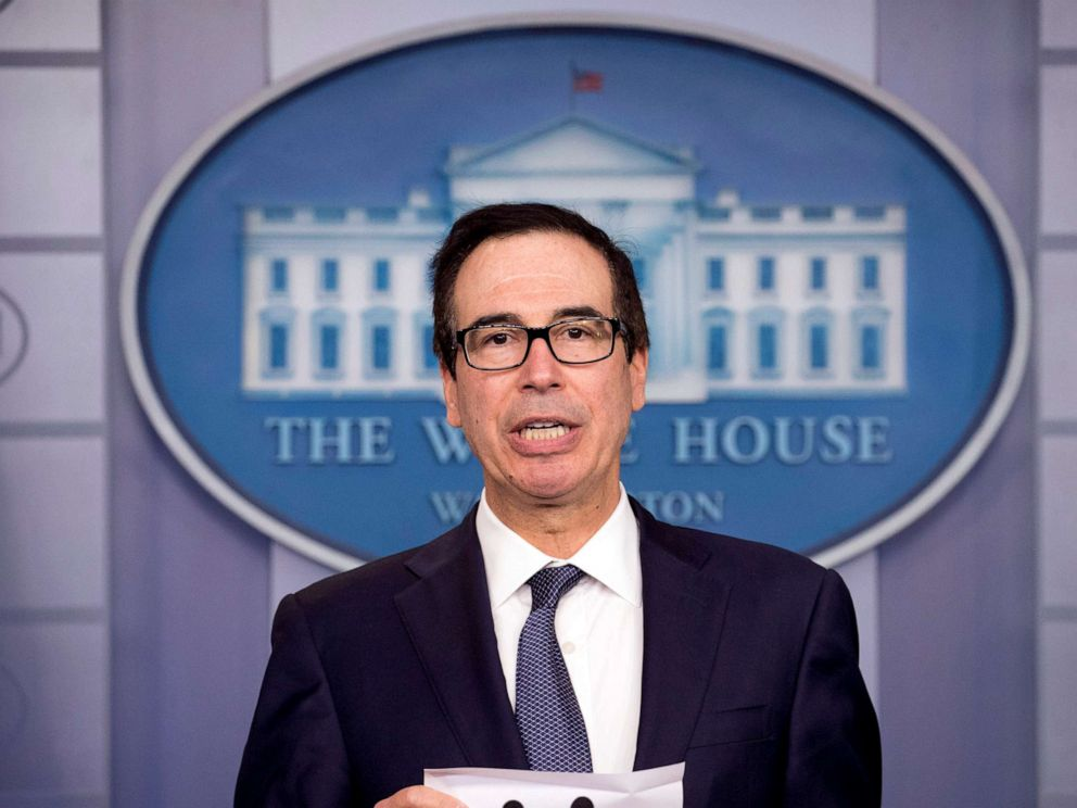 PHOTO: Treasury Secretary Steven Mnuchin speaks in the Briefing Room of the White House in Washington, Oct. 11, 2019.