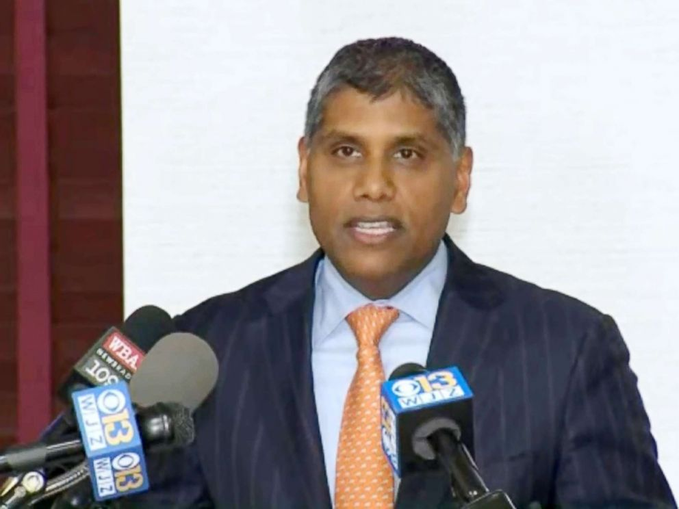 PHOTO: Dr. Mohan Suntha president and CEO of University of Maryland Medical Center address a press conference on Jan, 11, 2018.