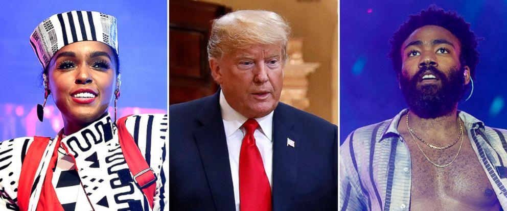 "PHOTO: Janelle Monae, President DOnald Trump, and Donald Glover aka ""Childish Gambino."""