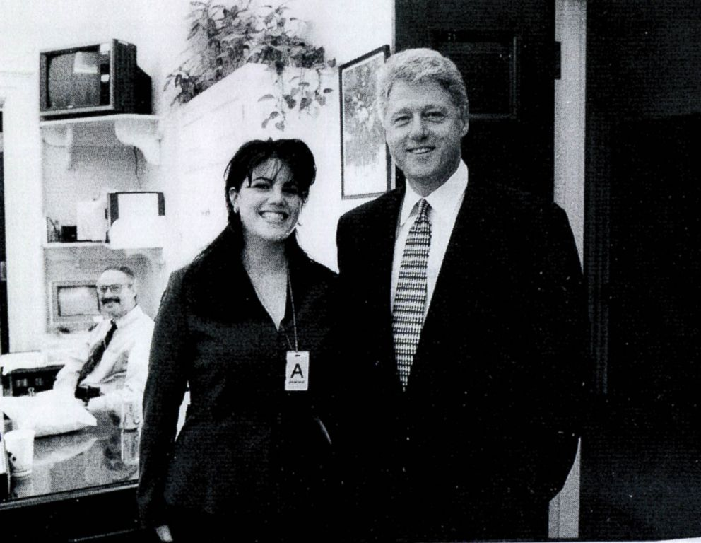 PHOTO: A photograph showing former White House intern Monica Lewinsky meeting President Bill Clinton at a White House function submitted as evidence in documents by the Starr investigation and released by the House Judicary committee Sept. 21, 1998.