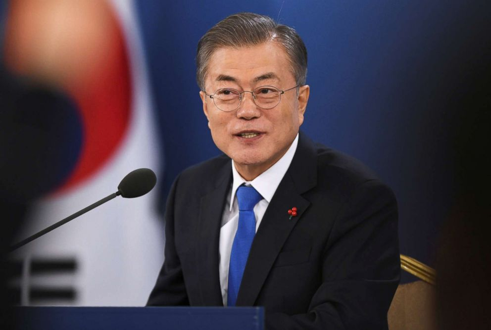 South Korean President Moon Jae-in holds a press conference at the presidential Blue House in Seoul, Jan. 10, 2019.