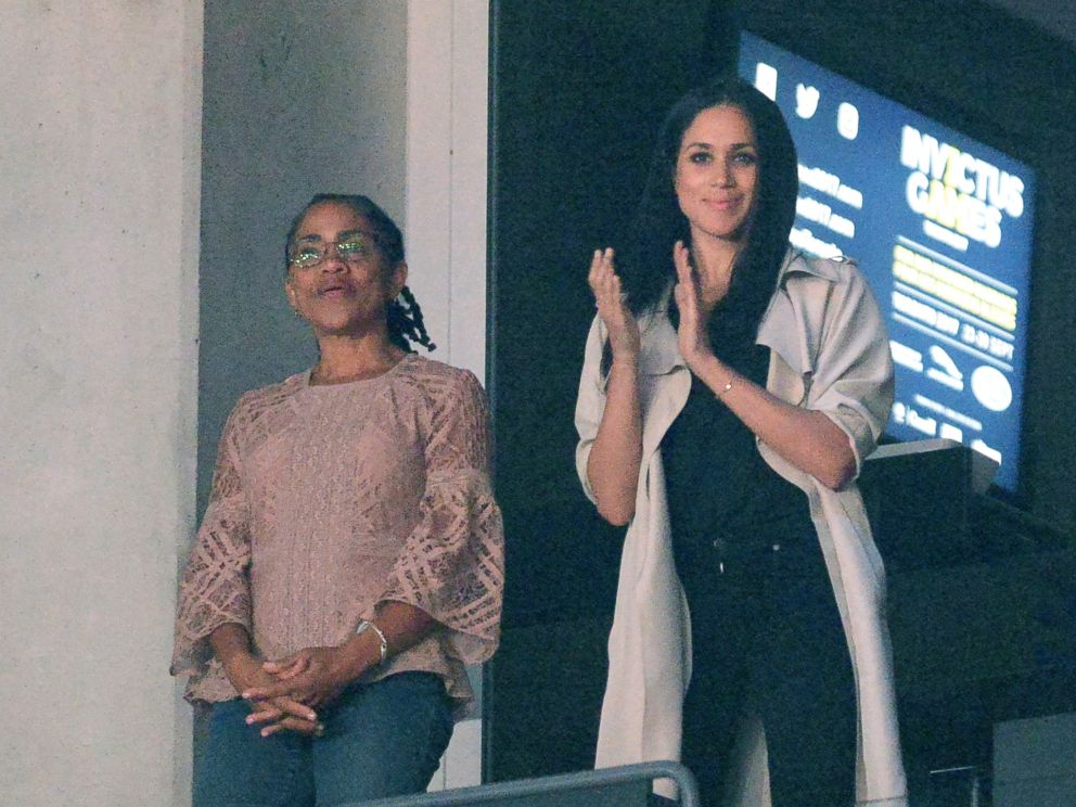 PHOTO: In this file photo dated Sept. 30, 2017, Meghan Markle watches the closing ceremonies of the Invictus Games with her mother Doria Ragland in Toronto.