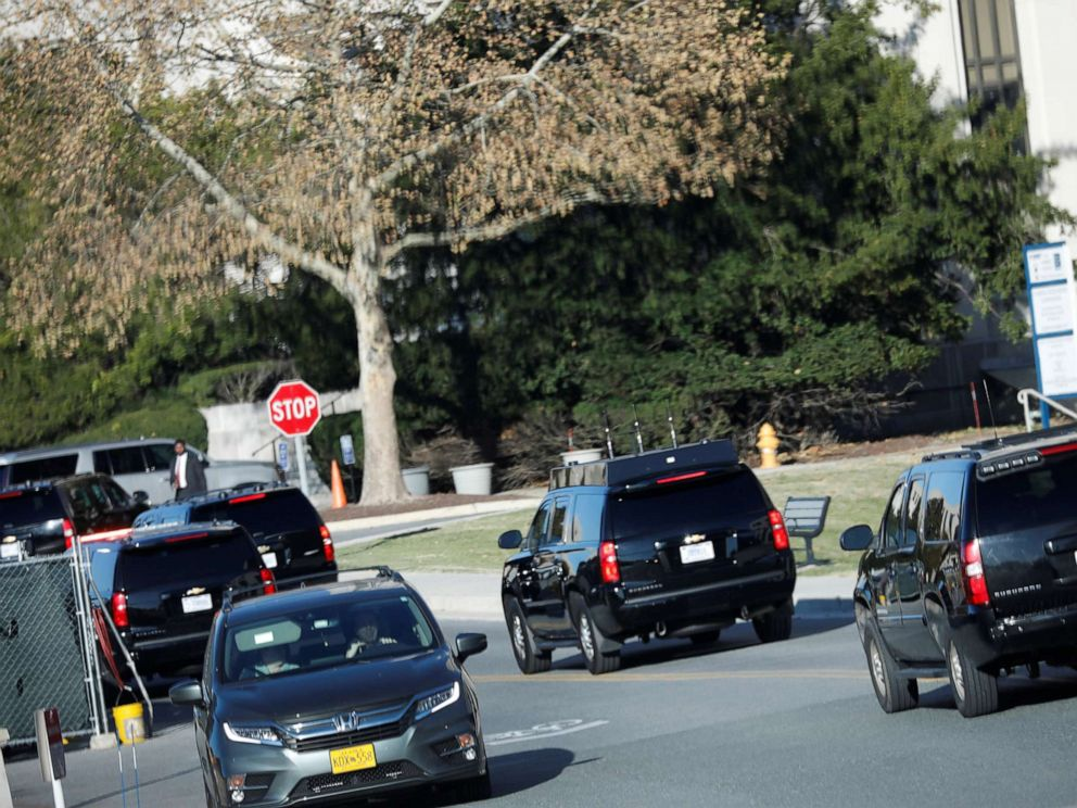 PHOTO: President Donald Trumps motorcade arrives at Walter Reed National Military Medical Center in Bethesda, Md., Nov. 16, 2019.