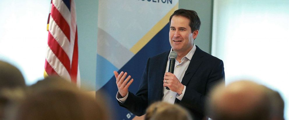 PHOTO: Massachusetts congressman and presidential candidate Seth Moulton speaks at a Town Hall event at Newburyport Senior Community Center in Newburyport, Mass., May 5, 2019.