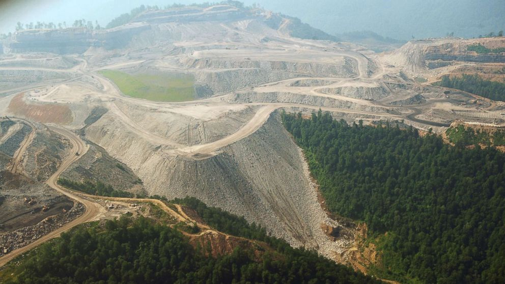 A June 13, 2008 photo shows a large mountaintop coal mining operation in West Virginia.