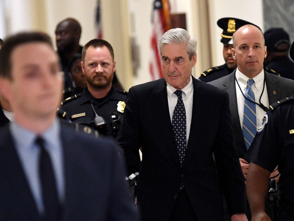 PHOTO: Former special counsel Robert Mueller arrives to testify on Capitol Hill in Washington, July 24, 2019, before the House Judiciary Committee hearing on his report on Russian election interference.