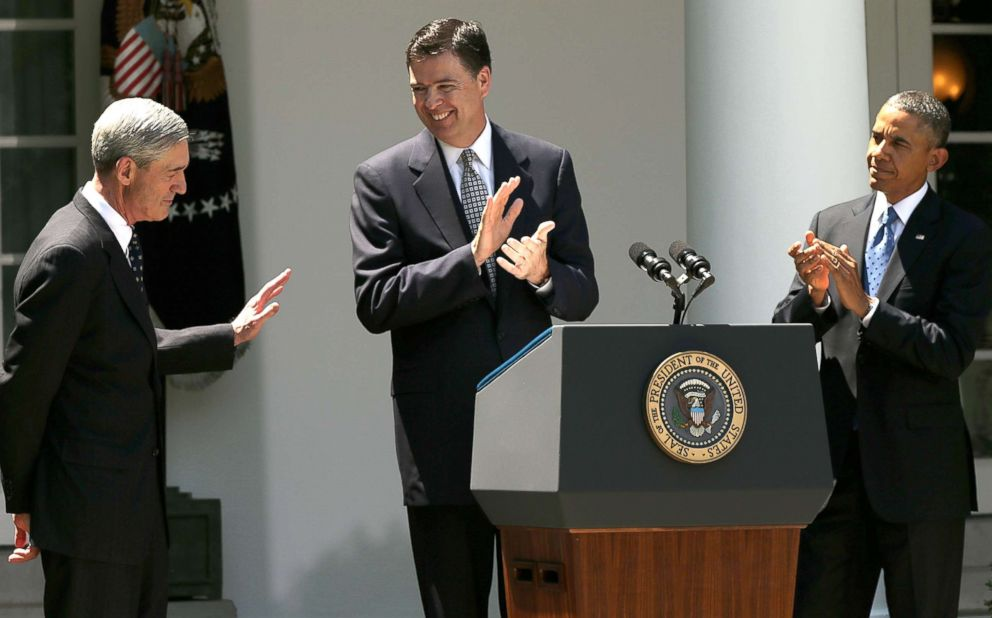 PHOTO: Barack Obama and James Comey applaud outgoing FBI Director Robert Mueller during a ceremony announcing Comeys nomination in the Rose Garden of the White House June 21, 2013, in Washington, DC.