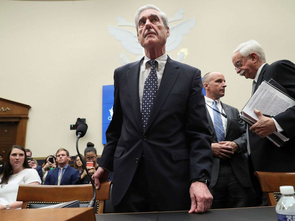 PHOTO: Former Special Counsel Robert Mueller returns to resume testimony before a House Intelligence Committee hearing on the Office of Special Counsels investigation into Russian interference in the election, July 24, 2019, in Washington, D.C.