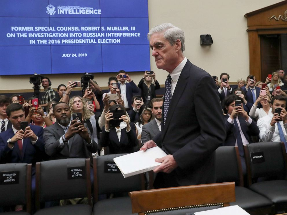 PHOTO: Former Special Counsel Robert Mueller arrives to testify before a House Intelligence Committee hearing on the Office of Special Counsels investigation election interference by Russia, in Washington, D.C., July 24, 2019.