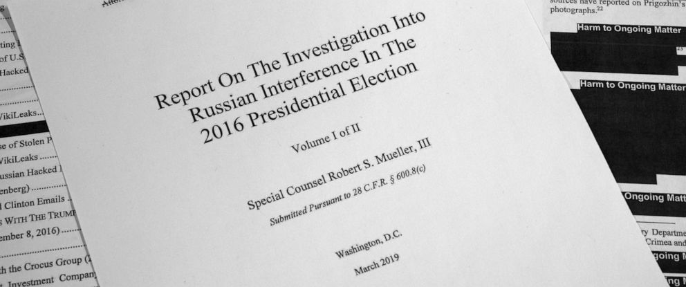 PHOTO: Special counsel Robert Muellers redacted report on Russian interference in the 2016 presidential election as released on April 18, 2019, is photographed in Washington, D.C.