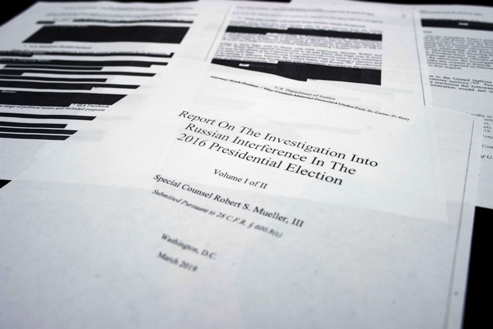 PHOTO: Pages of the special counsel Robert Muellers redacted report on Russian interference in the 2016 presidential election released on April 18, 2019.