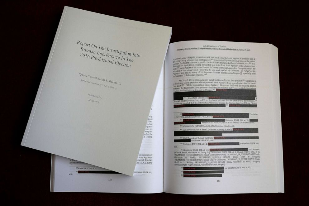 PHOTO: The recently released redacted version of the Mueller Report is shown April 24, 2019 in Washington.