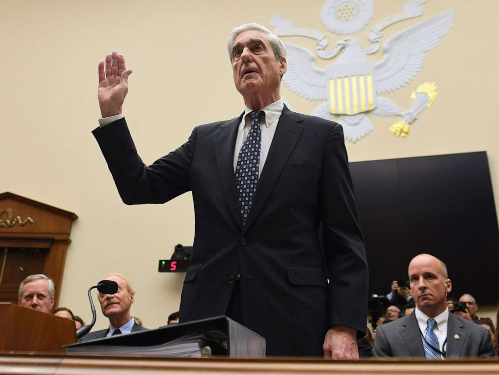 PHOTO: Former Special Prosecutor Robert Mueller is sworn in for his testimony before Congress on July 24, 2019, in Washington, D.C.