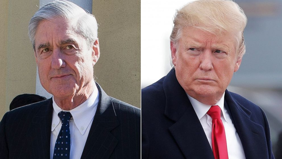 Special Counsel Robert Mueller, left, and President Donald Trump, right.