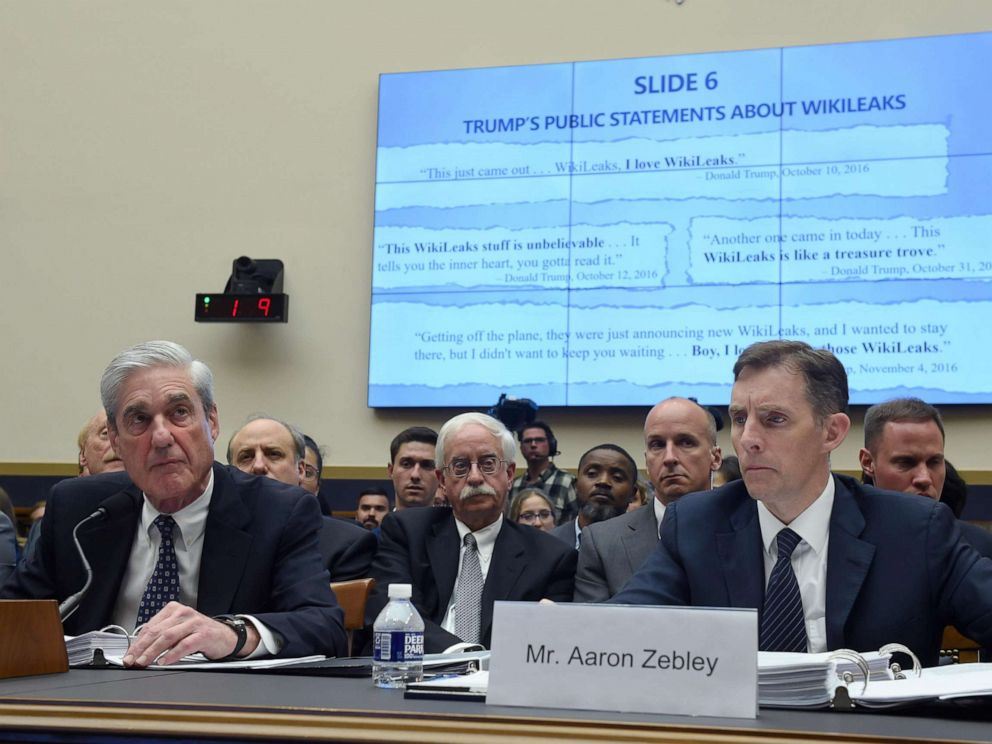 PHOTO: Former Special Counsel Robert Mueller, with former Deputy Special Counsel Aaron Zebley testifies about his report into Russian interference in the election during a House Select Committee on Intelligence hearing, July 24, 2019, July 24, 2019.