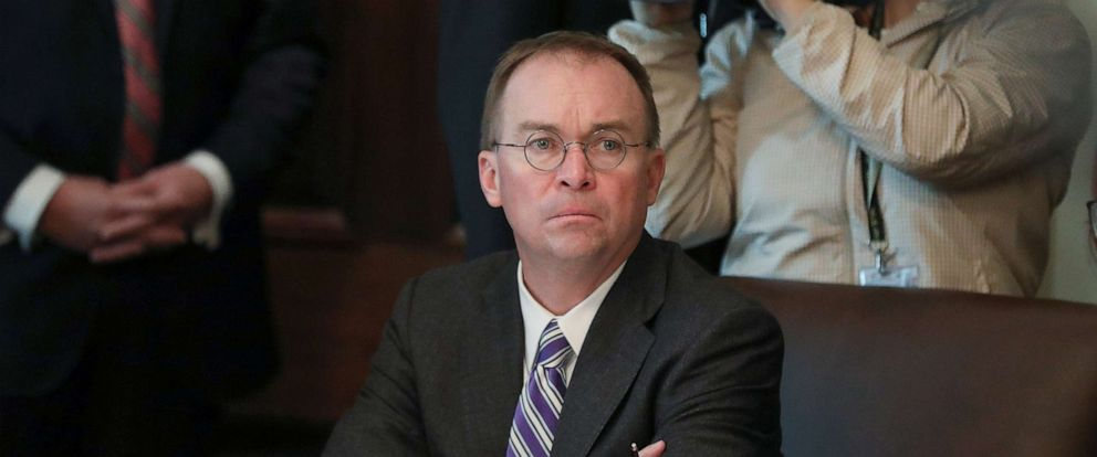 PHOTO:Acting White House Chief of Staff Mick Mulvaney listens during a cabinet meeting held by President Donald Trump at the White House, Oct. 21, 2019.