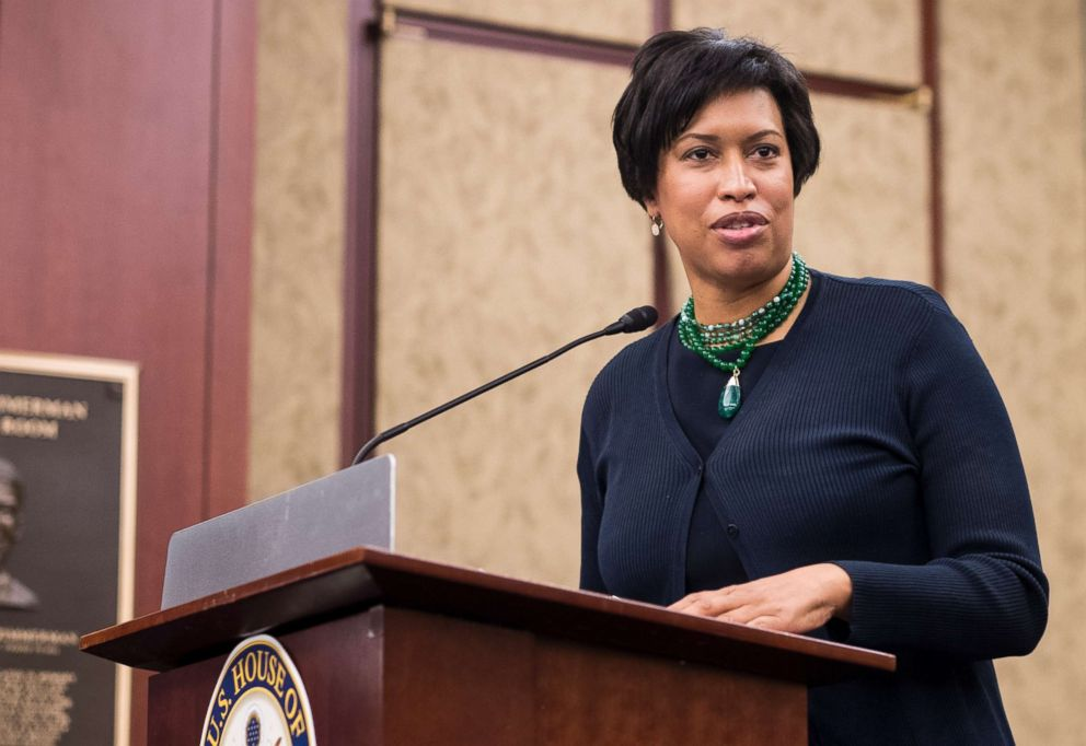 PHOTO: Mayor Muriel Bowser speaks during a news conference in the Capitol to discuss efforts to protect D.C.s local laws during the FY2019 appropriations process in this May 2, 2018 file photo.