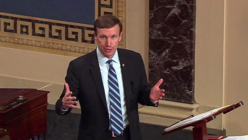 """Connecticut Sen. Chris Murphy said he would remain on the Senate floor """"until we get some signal, some sign that we can come together,"""" and evoked the Newtown school shooting in his state in 2012."""
