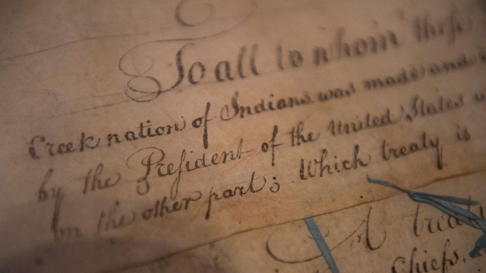 A detail of the 1790 Treaty of the Muscogee Creek Nations and the United States sits on display at the Smithsonian's National Museum of the American Indian  on March 16, 2015 in Washington.