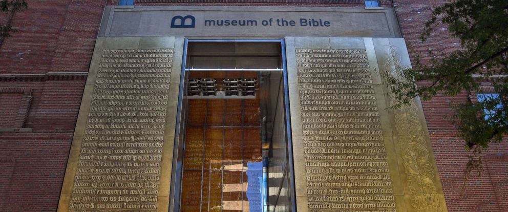 PHOTO: The entrance to the Museum of the Bible features relief metal lettering of scriptures in the Latin language, Oct. 4, 2017, in Washington.