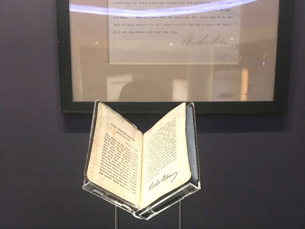 PHOTO: Typewritten message signed by President Woodrow Wilson exhibit at the History of the Bible, in Washington, Nov. 14, 2017.