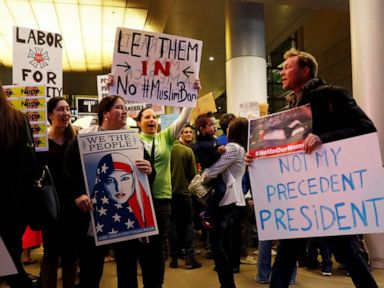 PHOTO: People protest Donald Trumps travel ban from Muslim majority countries at the International terminal at Los Angeles International Airport in Los Angeles, Jan. 28, 2017.