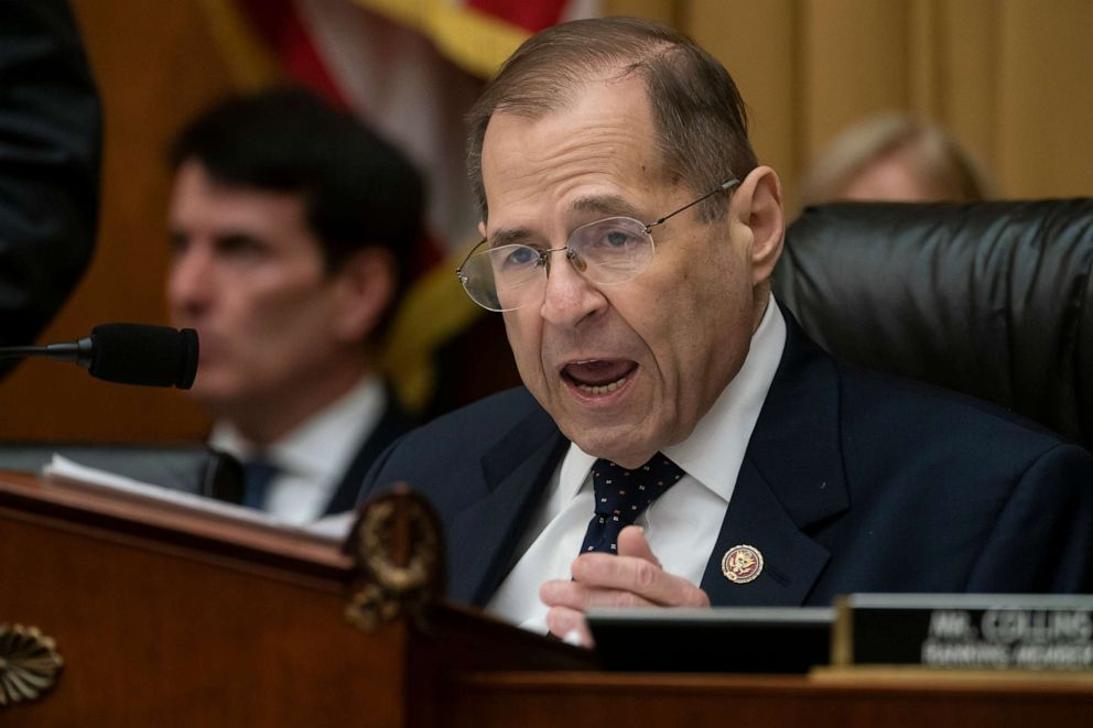 PHOTO: House Judiciary Committee Chair Jerrold Nadler, D-N.Y., directs the final vote to hold Attorney General William Barr in contempt on Capitol Hill, May 8, 2019.