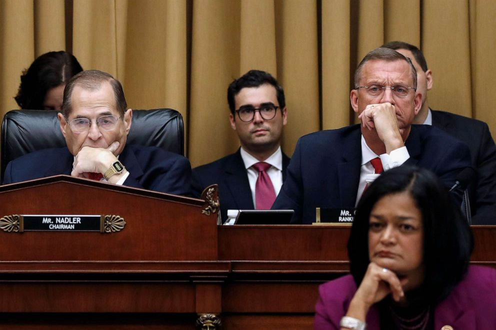 PHOTO: Jerrold Nadler, left, Rep. Doug Collins, top right, and Rep. Pramila Jayapal, bottom right, listen as former special counsel Robert Mueller testifies before the House Judiciary Committee on Capitol Hill, July 24, 2019, in Washington, D.C.