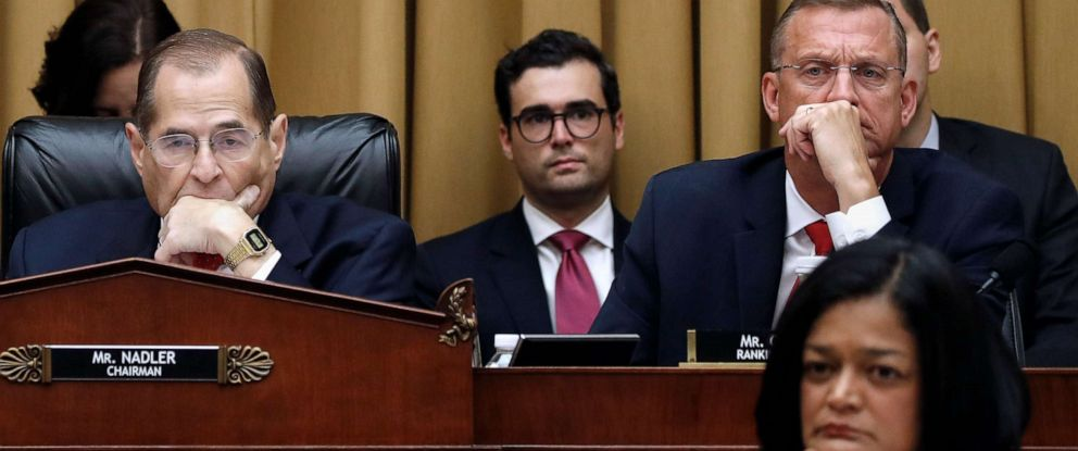 PHOTO: House Judiciary Committee Chairman Jerrold Nadler, left, Rep. Doug Collins, top right, and Rep. Pramila Jayapal, bottom right, listen as former special counsel Robert Mueller testifies, July 24, 2019, in Washington, D.C.