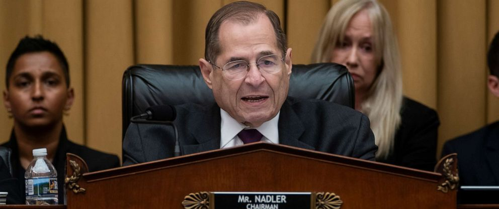 PHOTO: House Judiciary Committee Chairman, Rep. Jerrold Nadler, makes an opening statement as House Democrats start their hearing to examine whether President Donald Trump obstructed justice, on Capitol Hill in Washington, June 10, 2019.