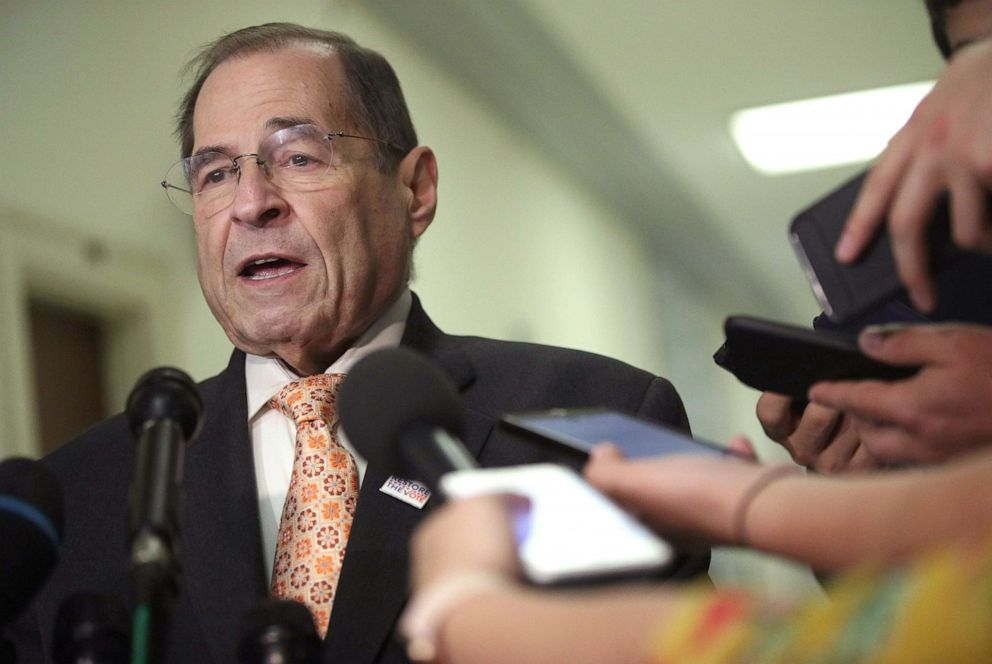 PHOTO: House Judiciary Committee Chairman Rep. Jerry Nadler speaks to members of the media at Rayburn House Office Building on Capitol Hill, June 26, 2019 in Washington, D.C.