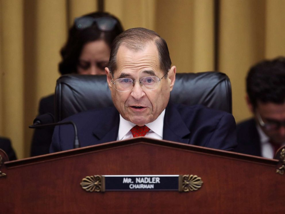 PHOTO: Chairman of the House Judiciary Committee Rep. Jerry Nadler questions former Special Counsel Robert Mueller in the Rayburn House Office Building, July 24, 2019 in Washington, D.C.