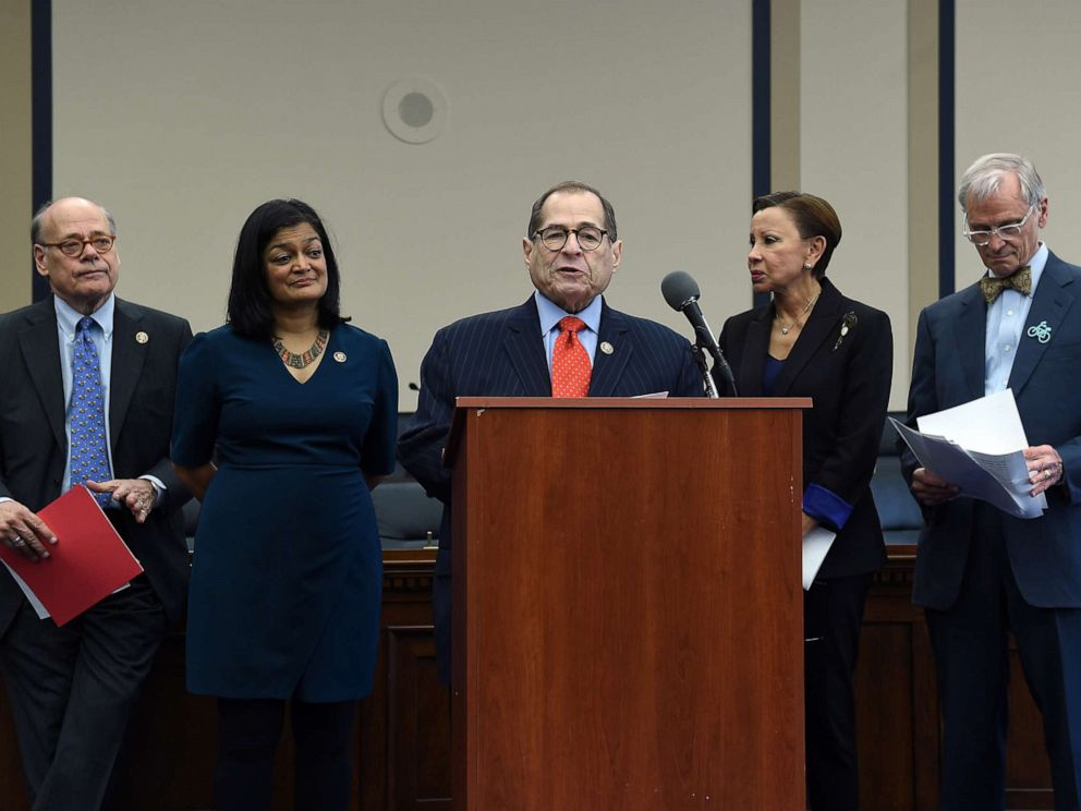 PHOTO: House Judiciary Committee Chairman Jerrold Nadler speaks during a news conference on Capitol Hill to highlight the MORE Act (Marijuana Opportunity Reinvestment and Expungement Act) legislation in Washington, Nov. 19, 2019.