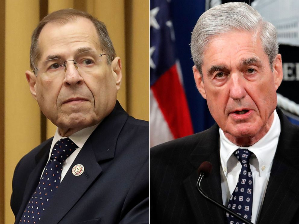 PHOTO: In this file photo, House Judiciary Committee Chairman Jerry Nadler is shown on Capitol Hill, May 8, 2019, in Washington, D.C. | In this May 29, 2019, file photo, Robert Muller speaks at the Department of Justice in Washington, D.C.